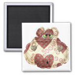 quilted country hippo head refrigerator magnets