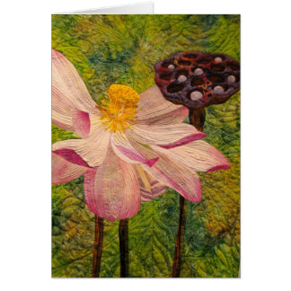 Quilted Floral Blank Card Vertical