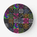 Quilted Fractal Kaleidoscope Round Wall Clock