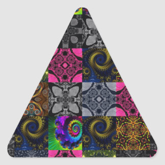Quilted Fractal Kaleidoscope Triangle Sticker