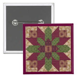 Quilted Green Burgundy Star 2 Inch Square Button