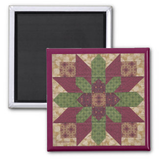 Quilted Green Burgundy Star 2 Inch Square Magnet