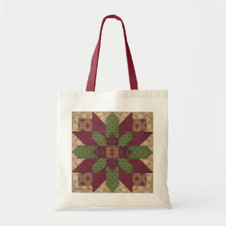 Quilted Green Burgundy Star Canvas Bags