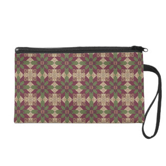 Quilted Green Burgundy Star Wristlet