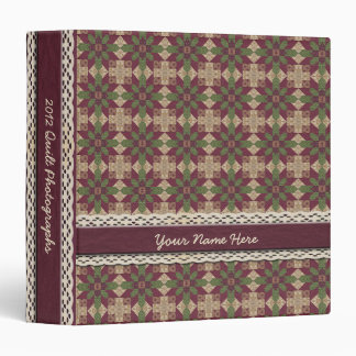 Quilted Green Burgundy Star 3 Ring Binders