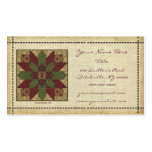 Quilted Green Burgundy Star Business Cards