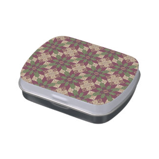 Quilted Green Burgundy Star Jelly Belly Tin