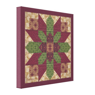 Quilted Green Burgundy Star Stretched Canvas Print