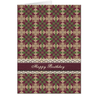 Quilted Green Burgundy Star Greeting Card