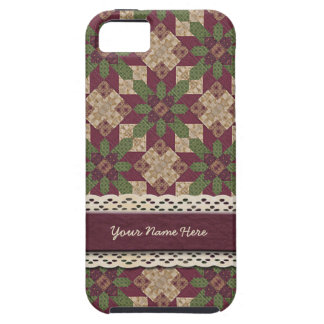 Quilted Green Burgundy Star iPhone 5 Case