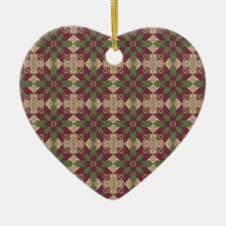 Quilted Green Burgundy Star Ceramic Ornament
