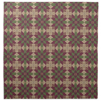 Quilted Green Burgundy Star Cloth Napkin
