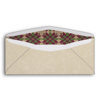 Quilted Green Burgundy Star Envelope