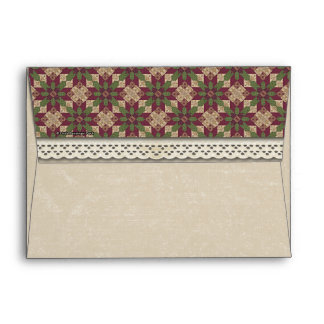Quilted Green Burgundy Star Envelope