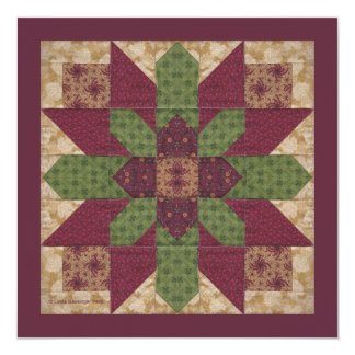 Quilted Green Burgundy Star 5.25x5.25 Square Paper Invitation Card