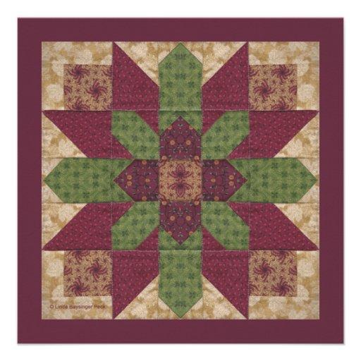 Quilted Green Burgundy Star Invitations