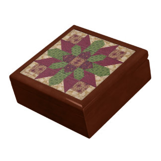 Quilted Green Burgundy Star Jewelry Box
