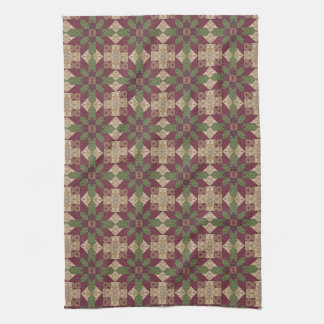 Quilted Green Burgundy Star Kitchen Towels