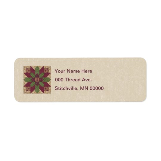 Quilted Green Burgundy Star Label