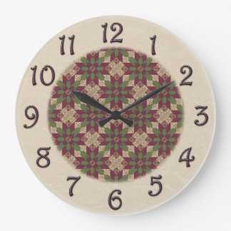 Quilted Green Burgundy Star Large Clock