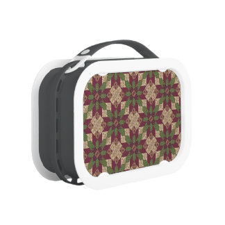 Quilted Green Burgundy Star Lunch Box