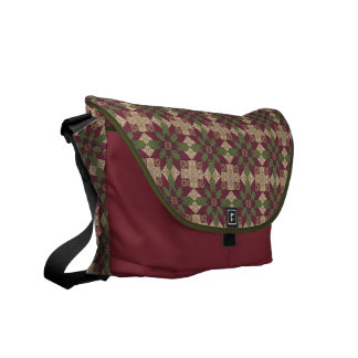 Quilted Green Burgundy Star Courier Bag