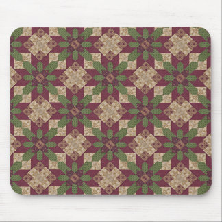 Quilted Green Burgundy Star Mouse Pad
