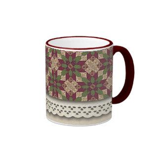 Quilted Green Burgundy Star Ringer Coffee Mug