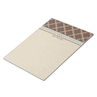 Quilted Green Burgundy Star Note Pad