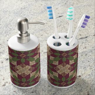 Quilted Green Burgundy Star Toothbrush Holder