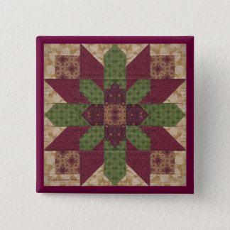 Quilted Green Burgundy Star Pinback Button