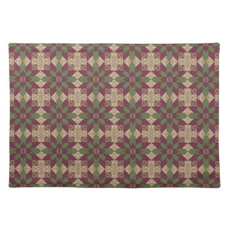 Quilted Green Burgundy Star Place Mat