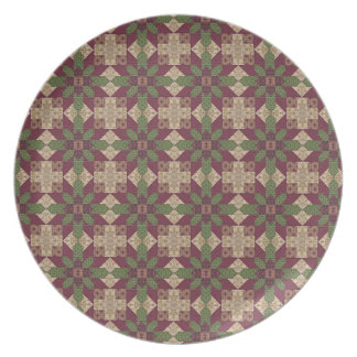 Quilted Green Burgundy Star Party Plate