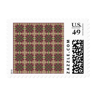 Quilted Green Burgundy Star Postage Stamps