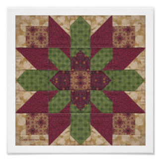 Quilted Green Burgundy Star Posters