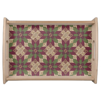 Quilted Green Burgundy Star Serving Tray