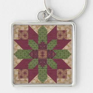 Quilted Green Burgundy Star Silver-Colored Square Keychain