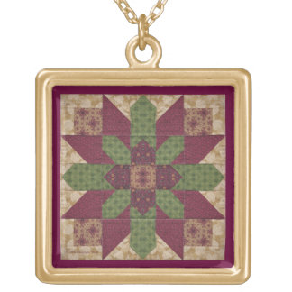 Quilted Green Burgundy Star Square Pendant Necklace