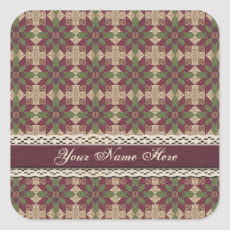 Quilted Green Burgundy Star Square Sticker