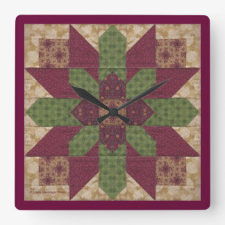 Quilted Green Burgundy Star Square Wall Clock