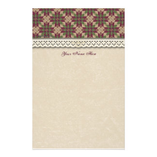 Quilted Green Burgundy Star Personalized Stationery