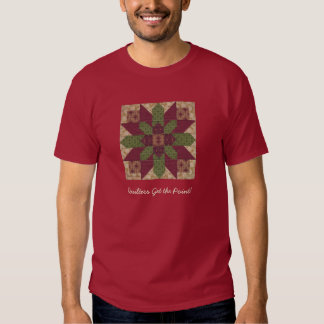 Quilted Green Burgundy Star T Shirt