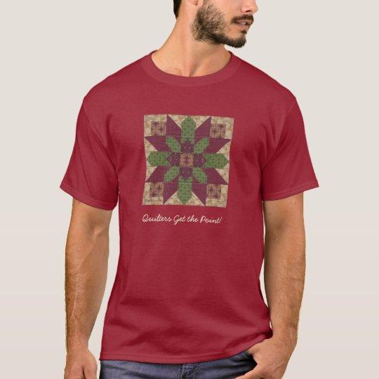 Quilted Green Burgundy Star T-Shirt
