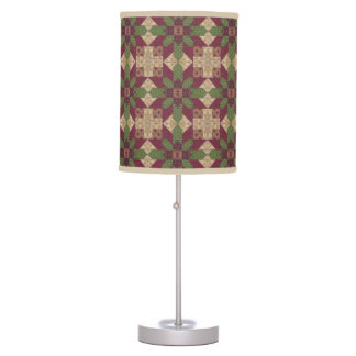 Quilted Green Burgundy Star Table Lamp