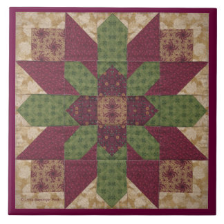 Quilted Green Burgundy Star Tile