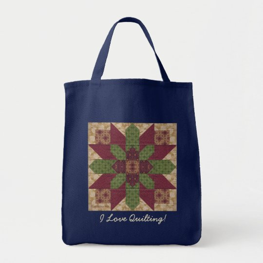 Quilted Green Burgundy Star Tote Bag