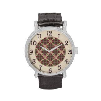Quilted Green Burgundy Star Wrist Watch
