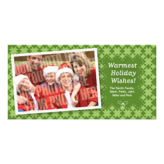 Quilted Green Holiday Photocard Card