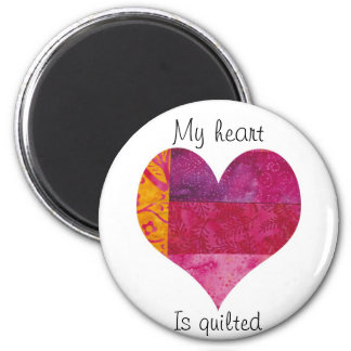 Quilted Heart 2 Inch Round Magnet