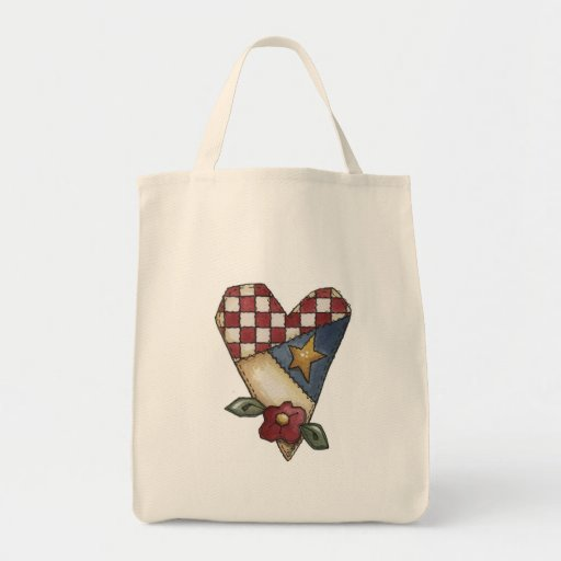 quilted heart tote bags